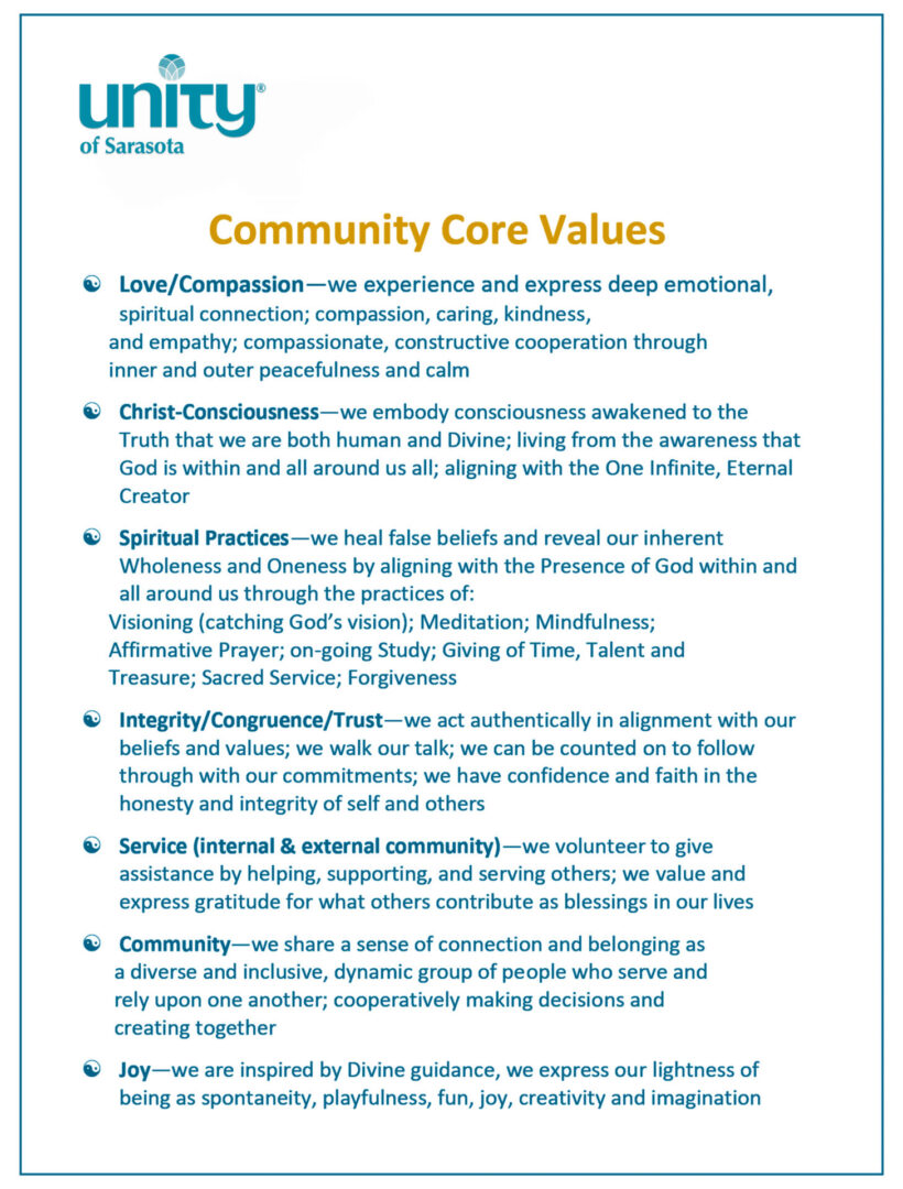 Community Core Values for Unity of Sarasota