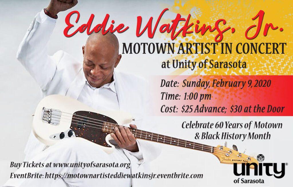 Eddie Watkins, Jr. Motown Concert at Unity of Sarasota on Feb. 9, 2020
