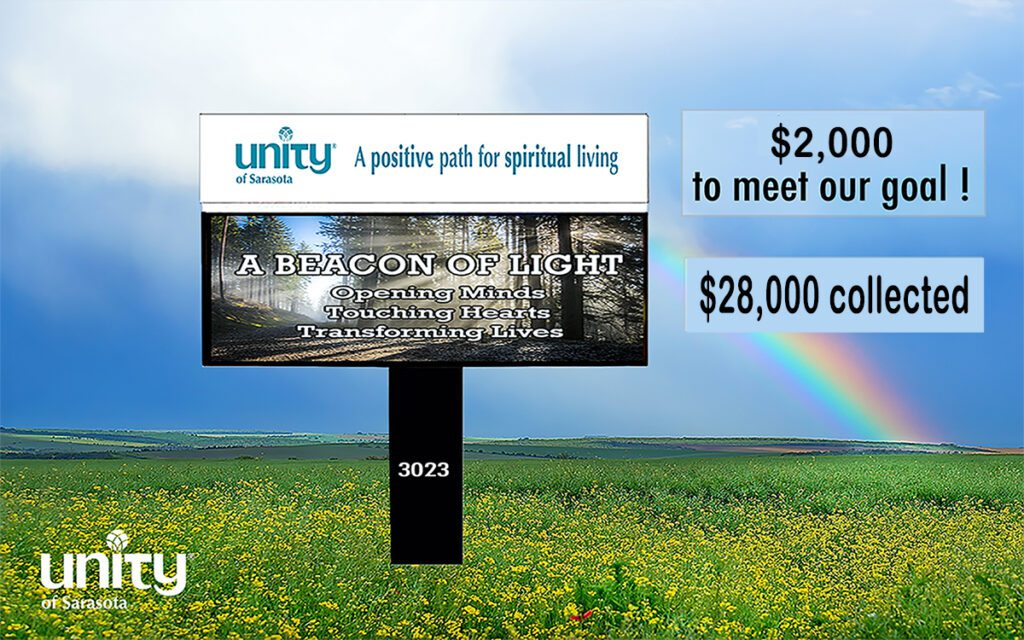 Electronic sign Unity of Sarasota coming soon