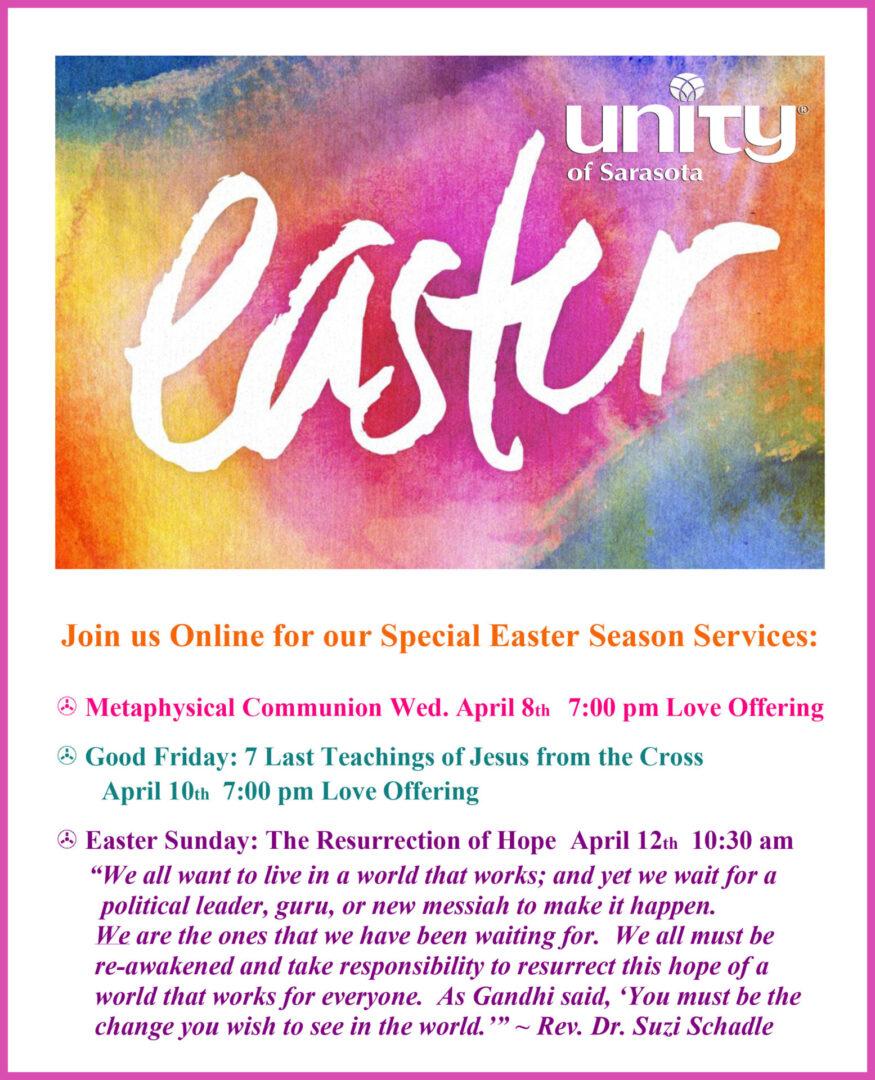 Easter Season at Unity of Sarasota