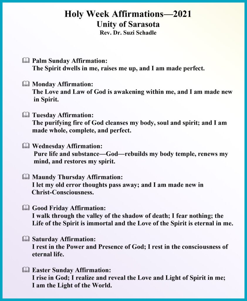 Holy Week Affirmations 2021 at Unity of Sarasota by Rev. Dr. Suzi Schadle