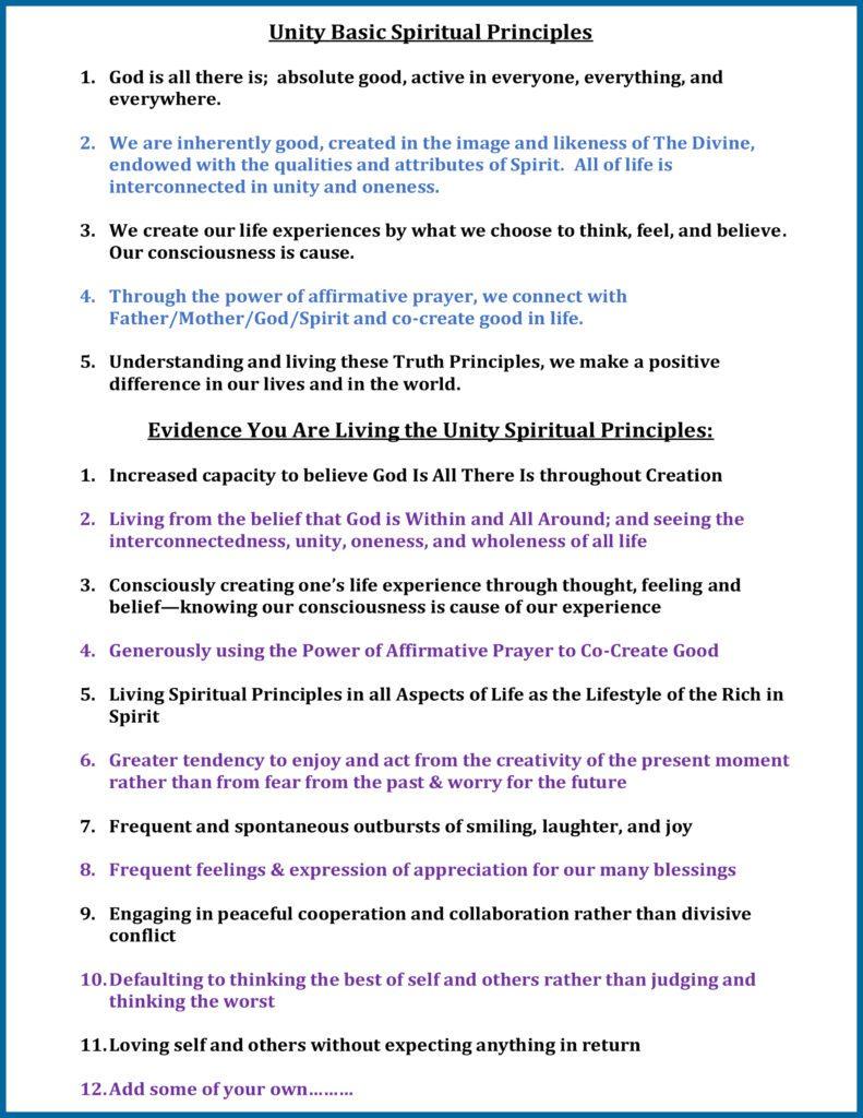 Unity Basic Spiritual Principles and the Evidence You are Living the Unity Spiritual Principles...