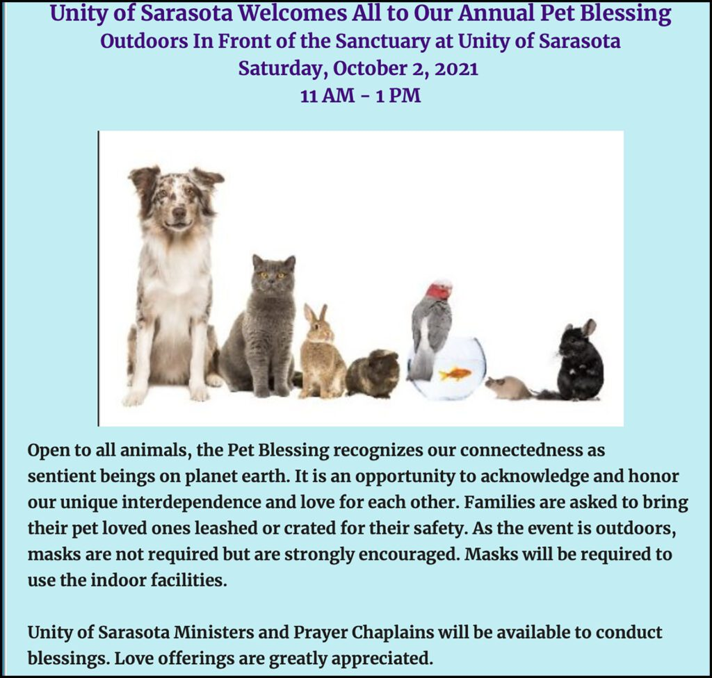 Annual Pet Blessing at Unity of Sarasota