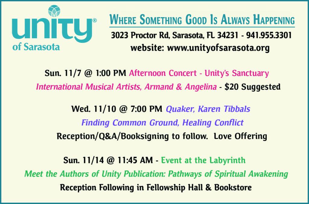 Upcoming November Events at Unity of Sarasota