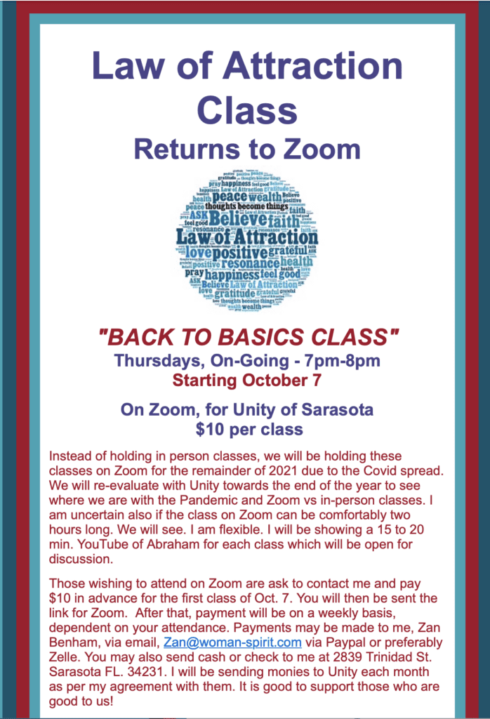 Law of Attraction Class Return to Basics on Zoom